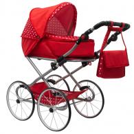 Detský Retro kočík pre bábiky 2v1 New Baby Magdalena červený s bodkami NEW BABY