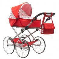 Detský Retro kočík pre bábiky 2v1 New Baby Anička červený so srdiečkami NEW BABY
