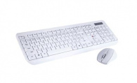 Klávesnice C-TECH WLKMC-01, bezdrátový combo set s myší, bílý, USB, CZ/SK