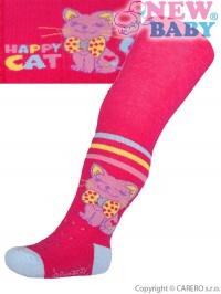 Bavlnené pančucháčky New Baby 3xABS ružové happy cat NEW BABY