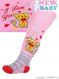 Bavlnené pančucháčky New Baby 3xABS svetlo ružové s mačičkou NEW BABY