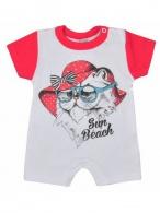 Dojčenský letný overal Koala Psík a mačička červený KOALA