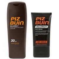 Set sluneční ochrany Allergy Mléko na opalování SPF 30 + Krém na opalování na obličej SPF 30 Zdarma Piz Buin