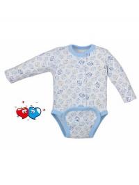 Dojčenské body celorozopínacie Koala Magnetky modré s kockami KOALA