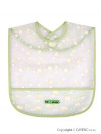 Detský podbradník s kapsičkou Akuku zelený s bublinkami AKUKU