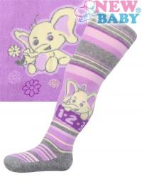 Bavlnené pančucháčky New Baby fialové s pruhmi a slonom NEW BABY