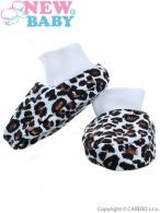 Dojčenské bavlnené capačky New Baby Leopardík hnedé NEW BABY