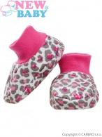 Dojčenské bavlnené capačky New Baby Leopardík ružové NEW BABY