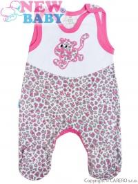 Dojčenské dupačky celorozopínacie  New Baby Leopardík ružové NEW BABY
