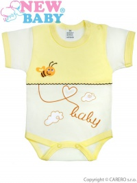 Dojčenské body s krátkym rukávom New Baby Clouds žlté NEW BABY
