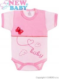 Dojčenské body s krátkym rukávom New Baby Clouds ružové NEW BABY