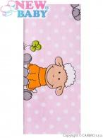 Flanelová plienka s potlačou New Baby ružová s ovečkou NEW BABY