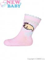 Dojčenské bavlnené ponožky New Baby ružové ryba NEW BABY