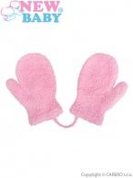 Detské zimné rukavičky New Baby so šnúrkou svetlo ružové NEW BABY