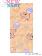 Bavlnená plienka s potlačou New Baby žltá s mriežkou a psíkom NEW BABY