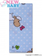 Flanelová plienka s potlačou New Baby modrá s ovečkou a bodkou NEW BABY