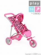 Športový kočík pre bábiky PlayTo Olivie ružový PLAYTO