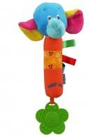 Detská pískacia plyšová hračka s hrkálkou Baby Mix slon BABY MIX