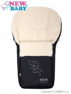 Luxusný fusak s ovčím rúnom New Baby černý NEW BABY