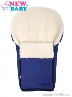 Luxusný fusak s ovčím rúnom New Baby tmavo modrý NEW BABY