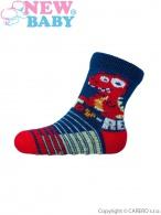 Dojčenské ponožky New Baby s ABS tmavo modré toy rex NEW BABY