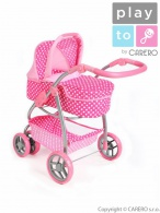Multifunkčný kočík pre bábiky PlayTo Jasmínka svetlo ružový PLAYTO