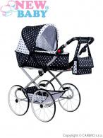 Detský Retro kočík pre bábiky 2v1 New Baby Natálka bielo-čierny NEW BABY