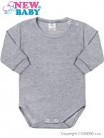 Dojčenské body s dlhým rukávom New Baby sivé NEW BABY