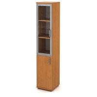 Skříň vysoká úzká 2-dveřová - 1 alurám a sklo