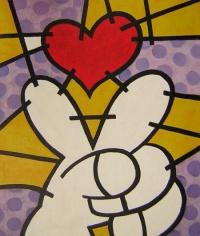 Obraz - Prsty a červené srdce