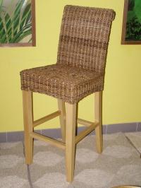 Ratanová barová židle Lenka-banánový list-borovice
