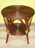 Ratanový obývací stolek-tmavý