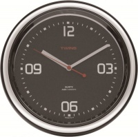 Nástěnné hodiny Twins 409 black 24cm