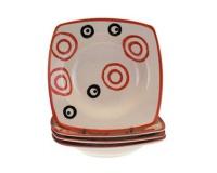 4d sada hlubokých talířů square červená COLORÉ,OK