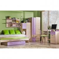 Komoda, 1 dveřová se 4 zásuvkami, jasan/fialová, EGO L6