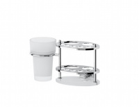 Držák pasty, kartáčků a skleničky - sklo