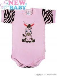 Dojčenské body s krátkym rukávom New Baby Zebra ružové NEW BABY
