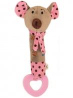 Detská pískacia plyšová hračka s hryzátkom Baby Mix myšky ružová BABY MIX