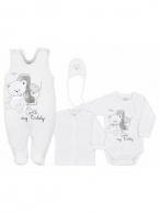 4-dielná dojčenská súprava v Eko krabičke Bobas Fashion Teddy biela BOBAS FASHION