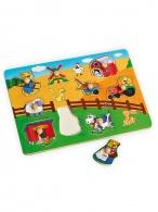Detské drevené puzzle s úchytkami Baby Mix Farma BABY MIX