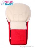 Luxusný fusak s ovčím rúnom New Baby červený NEW BABY