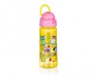 BANQUET Láhev plastová s brčkem OWLS Pink 500 ml