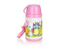 BANQUET Termoláhev s hrnkem OWLS Pink 320 ml