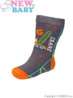 Dojčenské bavlnené ponožky New Baby sivé big crane NEW BABY