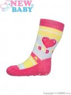 Dojčenské ponožky New Baby s ABS ružové monday NEW BABY