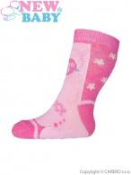 Dojčenské ponožky New Baby s ABS ružové s vtáčikom NEW BABY