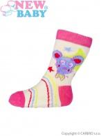 Dojčenské ponožky New Baby s ABS žlté s medvedíkom NEW BABY