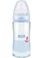Sklenená dojčenská fľaša NUK First Choice 240 ml modrá NUK