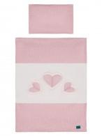 2-dielne posteľné obliečky Belisima Tri srdcia 90/120 bielo-ružové BELISIMA
