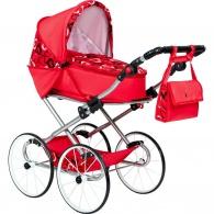 Detský Retro kočík pre bábiky 2v1 New Baby Elen červený so srdiečkami NEW BABY